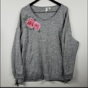 Tecra Women Sweater Plus Size 3X Grey Floral